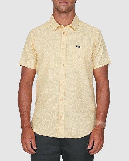 0 Crushed Check Short Sleeve Shirt Yellow R106187 RVCA