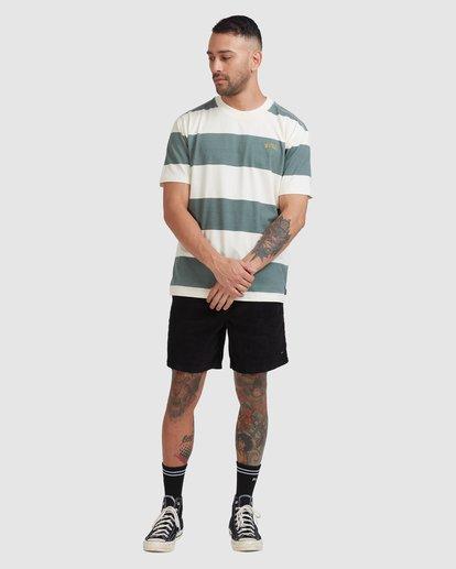 4 Harris Stripe Short Sleeve Tee Green R115043 RVCA