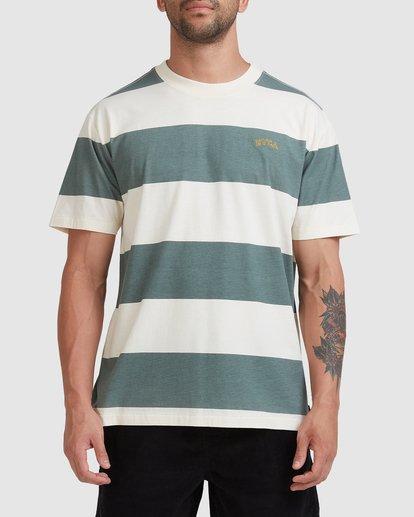 0 Harris Stripe Short Sleeve Tee Green R115043 RVCA
