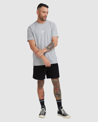 4 Script Short Sleeve Tee Grey R115045 RVCA