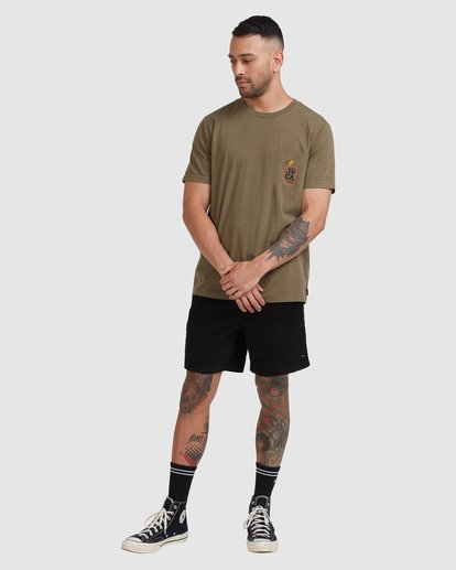 4 Snake Eyes Pocket Short Sleeve Tee Green R115050 RVCA