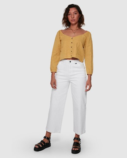 7 Fade Out Long Sleeve Top Yellow R207184 RVCA