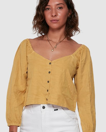 5 Fade Out Long Sleeve Top Yellow R207184 RVCA