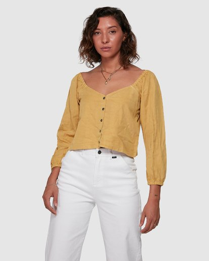 1 Fade Out Long Sleeve Top Yellow R207184 RVCA