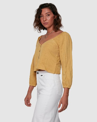 2 Fade Out Long Sleeve Top Yellow R207184 RVCA