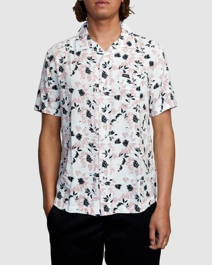 0 Beat Print Short Sleeve Shirt White R305190 RVCA