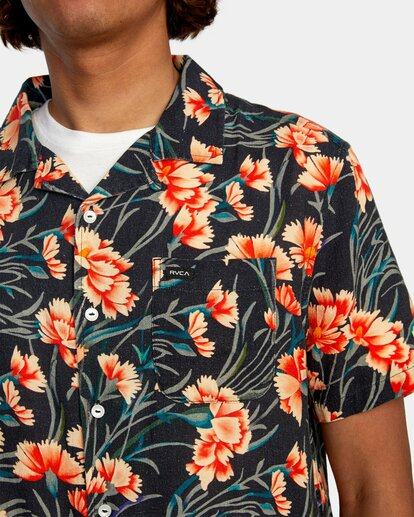 3 Beat Print Short Sleeve Shirt Blue R305190 RVCA