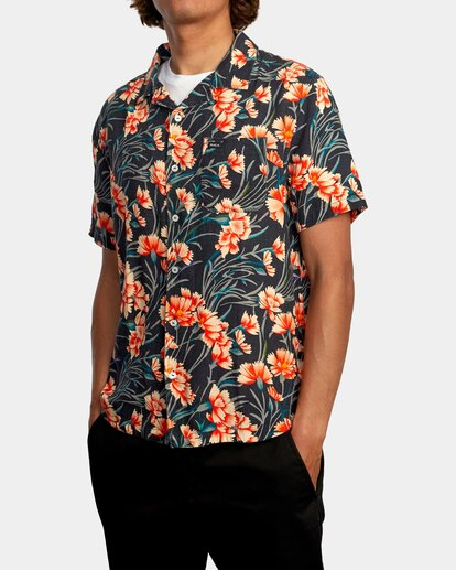 1 Beat Print Short Sleeve Shirt Blue R305190 RVCA
