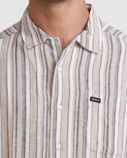3 Beat Stripe Short Sleeve Shirt Green R315183 RVCA