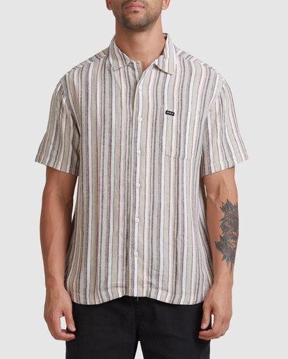 0 Beat Stripe Short Sleeve Shirt Green R315183 RVCA