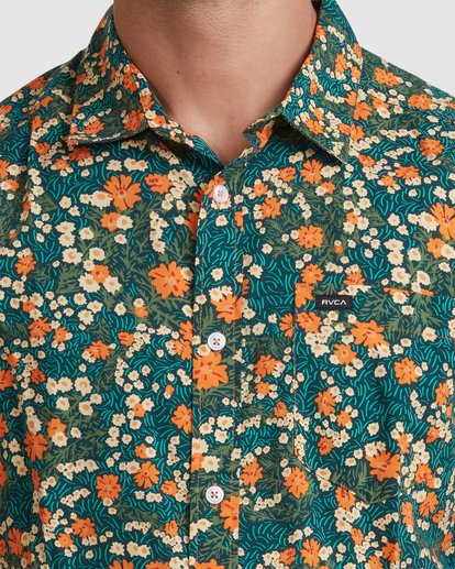 3 Baritone Short Sleeve Shirt Orange R315188 RVCA