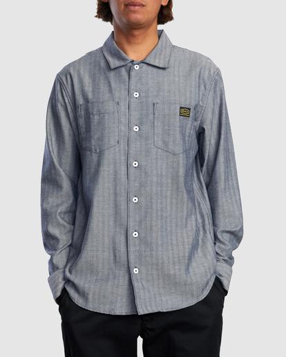 0 Day Shift Long Sleeve Shirt Blue R315189 RVCA