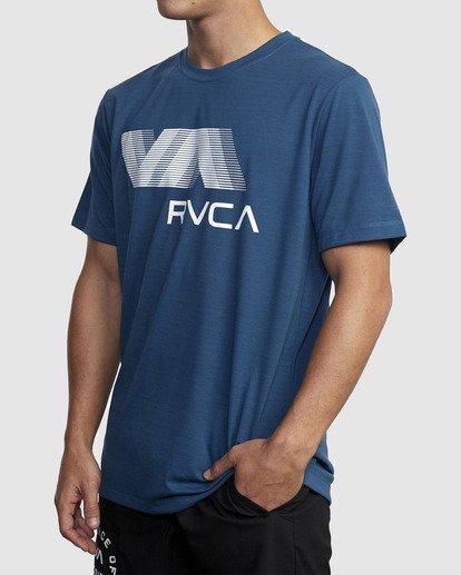 1 VA RVCA BLUR SHORT SLEEVE PERFORMANCE TEE Blue R317072 RVCA