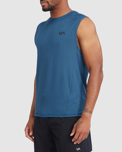 1 VA Sport | Sport Vent Workout Muscle Tank Top Blue R318001 RVCA