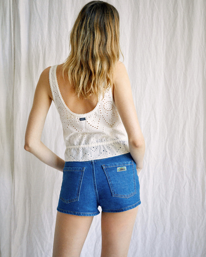 2 Camille Rowe | Rowe Denim Shorts Blue R415313 RVCA