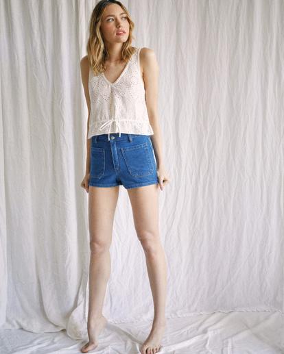 1 Camille Rowe | Rowe Denim Shorts Blue R415313 RVCA