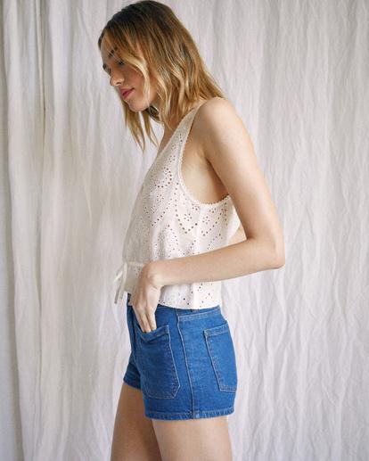 3 Camille Rowe | Rowe Denim Shorts Blue R415313 RVCA