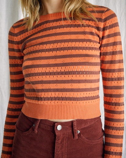 4 Camille Rowe | Paris Pointelle Sweater Orange R415364 RVCA