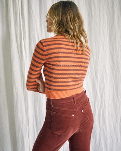 3 Camille Rowe | Paris Pointelle Sweater Orange R415364 RVCA
