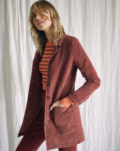 3 Camille Rowe | Paradis Coat Brown R415434 RVCA