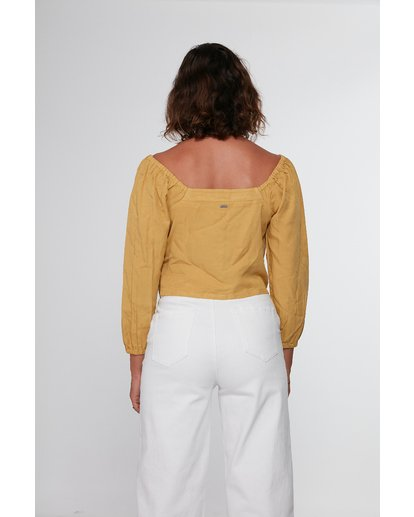 4 Fade Out Long Sleeve Top Yellow R207184 RVCA
