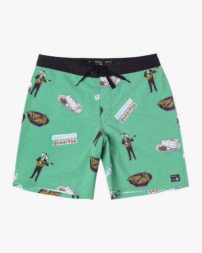 """0 Hot Fudge Trunk 18"""" - Bañador de surf de pantalón con estampado para Hombre Verde S1BSRMRVP0 RVCA"""