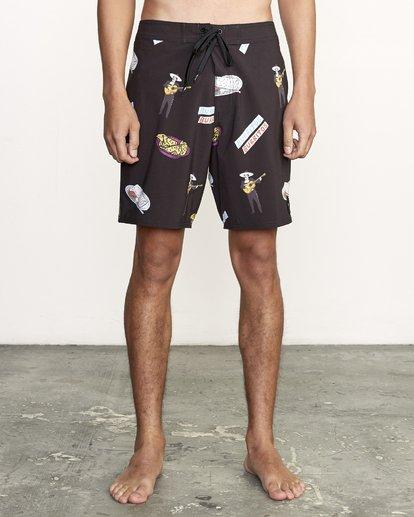 "1 Hot Fudge Trunk 18"" - Bañador de surf de pantalón con estampado para Hombre Negro S1BSRMRVP0 RVCA"