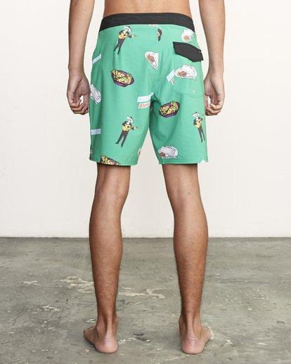 """2 Hot Fudge Trunk 18"""" - Bañador de surf de pantalón con estampado para Hombre Verde S1BSRMRVP0 RVCA"""