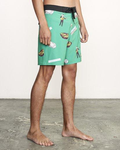 """6 Hot Fudge Trunk 18"""" - Bañador de surf de pantalón con estampado para Hombre Verde S1BSRMRVP0 RVCA"""