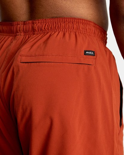 """7 YOGGER STRETCH recycled 17"""" workout SHORT Red V201TRYS RVCA"""