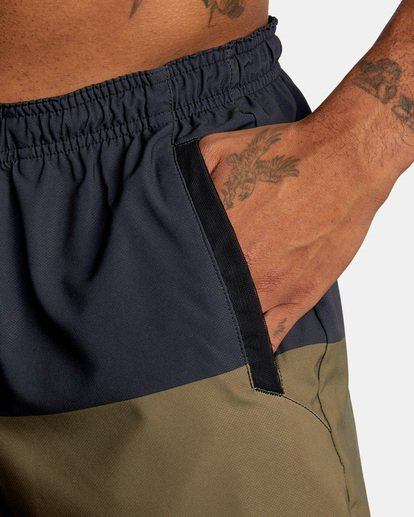 """6 YOGGER STRETCH recycled 17"""" workout SHORT Brown V201TRYS RVCA"""