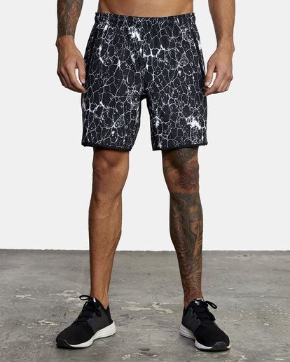 """0 YOGGER STRETCH recycled 17"""" workout SHORT White V201TRYS RVCA"""