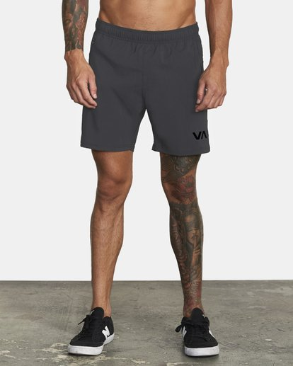 "0 Tech Strike Train Gym Shorts 16"" Grey V2023RTS RVCA"