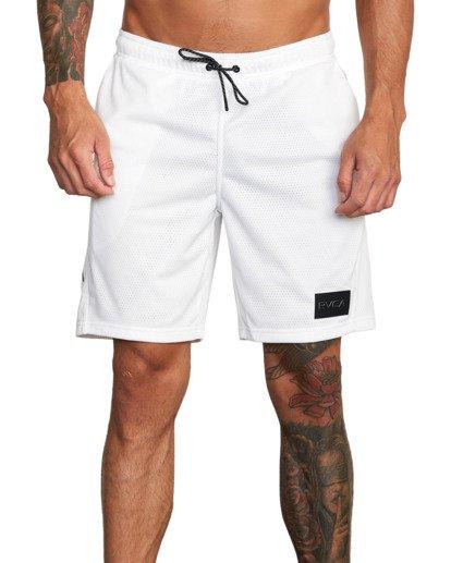 """7 VA Mesh Gym Shorts 20"""" White V2033RME RVCA"""