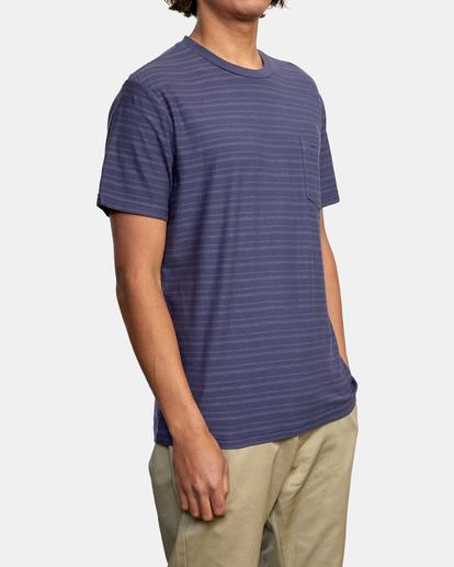 5 Texture Stripe - T-shirt pour Homme Bleu W1KTRDRVP1 RVCA