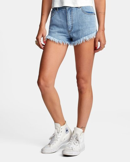 3 Elle High Rise Denim Shorts Black W2032REL RVCA