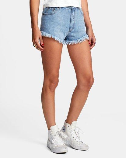 6 Elle High Rise Denim Shorts Black W2032REL RVCA