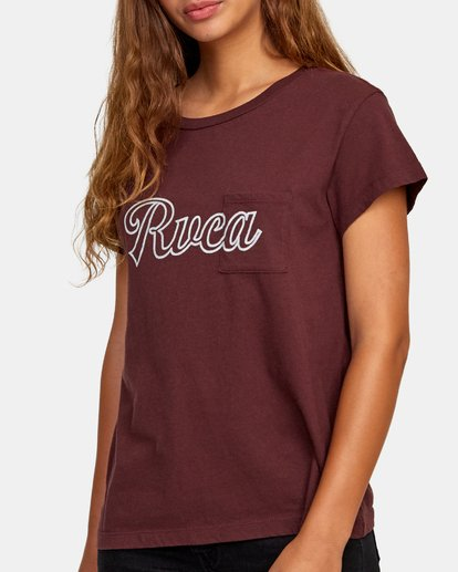 2 Pinscript Pocket T-Shirt Brown W412WRPI RVCA
