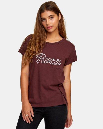 0 Pinscript Pocket T-Shirt Brown W412WRPI RVCA