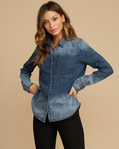 3 Unearthed Washed Denim Shirt Blue W508QRUN RVCA