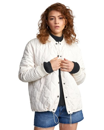 7 DOWNTOWN QUILTED BOMBER JACKET Brown W7053RDO RVCA