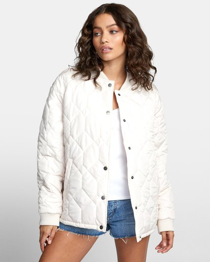 1 DOWNTOWN QUILTED BOMBER JACKET Brown W7053RDO RVCA