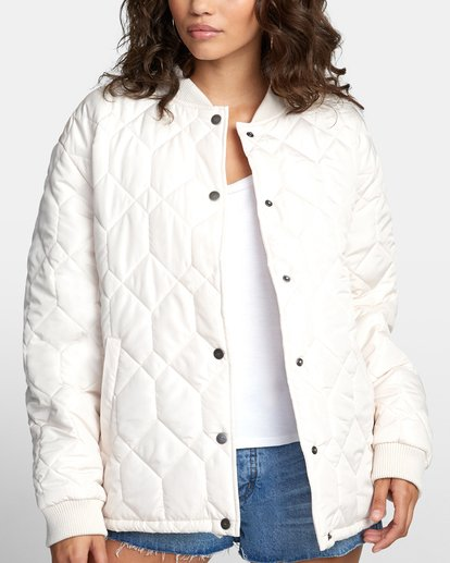 6 DOWNTOWN QUILTED BOMBER JACKET Brown W7053RDO RVCA