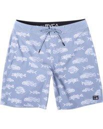 "0 Ben Horton | Boys' Fish Boardshorts 16"" Blue AVBBS00114 RVCA"
