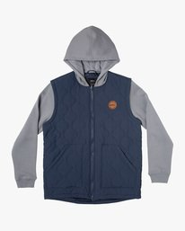 0 Boy's Grant Hooded Puffer Jacket Blue AVBFT00114 RVCA