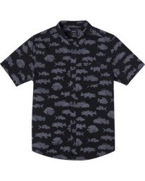 0 Boy's Horton Dead Fish Short Sleeve Shirt  AVBWT00121 RVCA