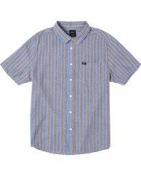 0 Boy's Harbour Stripe Short Sleeve Shirt Brown AVBWT00125 RVCA