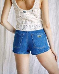 2 Camille Rowe | Rowe Denim Shorts Green AVJDS00107 RVCA