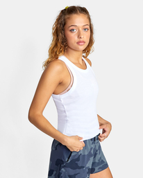 4 Essential Ribbed Workout Tank Top White AVJKT00134 RVCA
