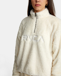2 Relaxed RVCA Quarter Zip Sweater White AVJSF00178 RVCA
